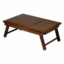 Wood Lap Desk Table Storage Drawer Foldable Legs Portable Laptop Stand Food Tray