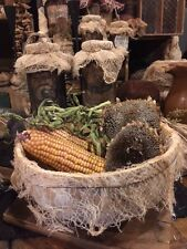 Primitive Gourd Bowl Gathering Dried Corn Green Beans Sunflowers Early Look