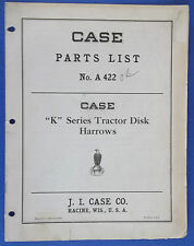 "Case ""K"" Series Tractor Disk Harrows Parts Catalog Number A 422  Made In U.S.A."