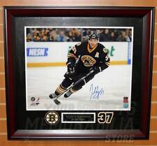 Patrice Bergeron Boston Bruins Signed Home 3rd Jersey Action 16x20 Framed