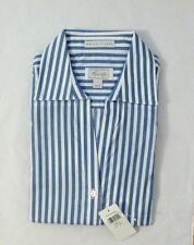 NEW FOXCROFT Women's Wrinkle Free Oxford Blouse Button Down Shirt Blue Stripe S