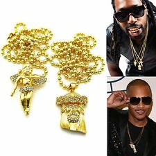 MENS ICED OUT HIpHOP GOLD MICRO ANGEL JESUS FACE PENDANT BALL CHAIN NECKLACE SET