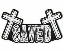 SAVED Crosses Embroidered Christian Jesus Bible Church Biker Vest Patch PAT-3430