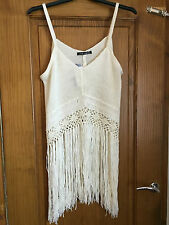 Cream crochet knit vest top/tunic - PLUS SIZE 18 - Festival/beach - tassle hem