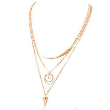 Fashion Gold Plated Multi layer Clavicle Chain Pearl Pendant Necklace NF