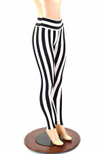 MEDIUM High Waist Black & White Striped Spandex Yoga Leggings Ready To Ship!