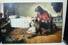 Cecil Young 30x20 Oil Painting of Ole Cowboy and His Dog 1987