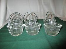 Set of 6 Lovely Vintage Crystal Glass Mini Baskets. Perfect for Easter table.