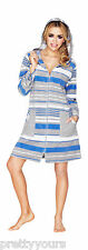 Women's Cotton Bath Robe Housecoat Dressing Gown Dress Bathrobe Zip Up with Hood