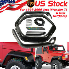 Flat Front+Rear Fender Flares without  LED Side Light for 97-06 Jeep TJ Wrangler
