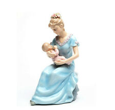 ♫ MUSIC BOX Porcelain Figurine SLEEPING BABY GIRL & Mother Mom MUSICAL FIGURE ♫