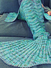 Mermaid Tail Sofa Blanket Super Soft Hand Crocheted Knitting Wave sleeping bag