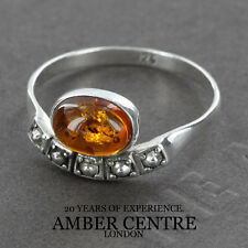 Fiery Orange Oval Baltic Amber In Styled 925 Silver WR264; RRP £20; Size O