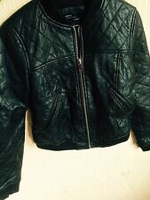 ZARA Black Quilted Leather Biker Bomber Jacket Medium M