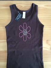 American Apparel brown tank top youth size 6 w/ flower bling
