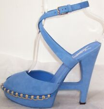 YVES ST LAURENT YSL Blue Suede Cut Out Wedge Platform Shoes 7.5