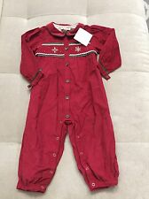 NWT Baby Girl Coverall Petit Mom 24 Month Red With Snowflakes France