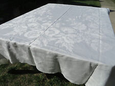 Vtg Antique Irish LINEN Double Damask Tablecloth White POPPIES 79X102 PERFECT