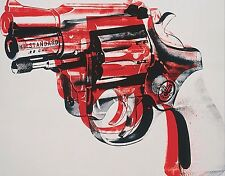 Gun 1981-82 HUGE 42x32 black and red on white Canvas Print Like Andy Warhol
