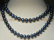 Long 32 Inches Natural 9-10mm tahitian black real pearl necklaces