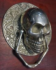 Skull Head Statue Sculpture Figure Skeleton Door Handle Bronze Metal