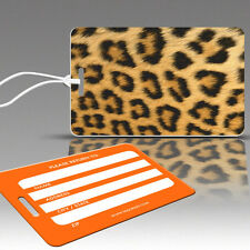 TagCrazy Luggage Tags, Wildlife, Leopard Design, Durable Plastic Loops- 3 Pack