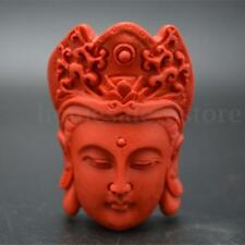 Natural Red Cinnabar Carved Guanyin Buddha Buddhist Stone Pendant DIY Necklace