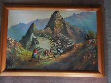 "ORIGINAL VINTAGE MACHU PICCHU OIL PAINTING IN KOA WOOD VENEER FRAME 33,5"" X 23 7"