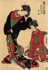 UW»Estampe japonaise courtisanes et singes 21 H51 F59