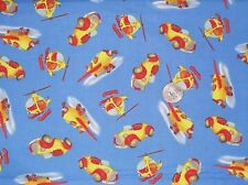 Valance Window Curtain Kids Planes Cars Helicopters Red Orange Blue