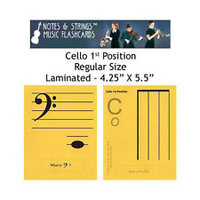 """Cello 1st Position 4.25x5.5"""" Laminated Music Flashcards"""