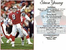 """Steve Young - San Francisco 49ers  Hall of Fame Induction 8"""" x 10"""" Supercard"""