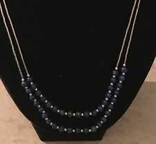 Carolyn Pollack Lapis Lazuli Beads Liquid Sterling Silver Double Strand Necklace