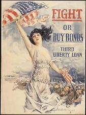 USA Fight or Buy Bonds War Bonds 1917 Woman World War 1 Poster 11x8 Inch Reprint