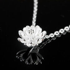 925 Sterling Silver Lotus Flower Crystal Rhinestone Pendant Necklace Jewelry