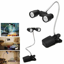 6 LED Flexible 2-Head BBQ Clip-On Light Laptop Table Reading Lamp + Handy Tong