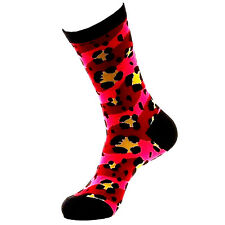 BETSEY JOHNSON Casual Socks, Ladies SZ 9-11 Lucky Leopard Camo Black/Pink NEW
