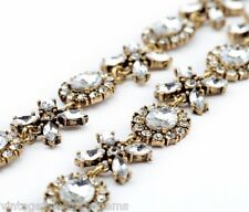 CLEAR WHITE CRYSTAL RHINESTONE Gold Vtg Flower Pendant Choker Statement Necklace