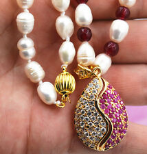 """New white akoya cultured pearl garnet ruby necklace Taiji character 18"""""""