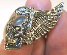 DELUXE FLYING SKULL WINGS SILVER BIKER RING BR218 mens RINGS jewelry NEW SKULLS