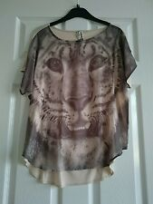 NEXT GREY/CREAM TOP SIZE 6