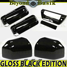 15-17 Ford F150 Std/Ext Cab GLOSS BLACK Door Handle COVERS+Bowls+Mirror+Tailgate