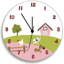 Life in Farm Pink Wall Clock for Nursery, Girls Bedroom Wall Decor