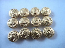 12 Round Gold Tone Wave Pattern Studs Clothing Leather Decoration 1/2""