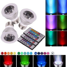 3X New LED Light RGB Bulb E27 3W 85V-265V 16-color + IR Remote Control US S