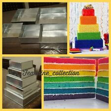 SET OF PROFFESSIONAL 5 TIER SQUARE CAKE BAKING TINS HEAVY DUTY 5  WEDDING PANS