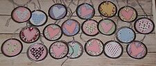 "10 Assorted Valentine LOVE Hearts Metal Rim 1 1/4"" Hang Tags Gift Ties Mini Tree"