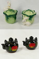 Salt & Pepper Teapot  &   Rabbit with Lettuce  2 SETS Shakers