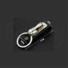 Stainless Steel Leather Detachable Keychain Belt Clip Key Ring Holder NEW