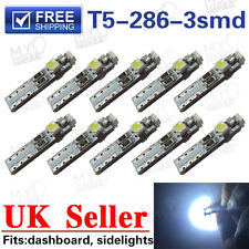 10x T5 286 3SMD 3528 White Wedge LED 3W Light Bulb Dashboard 12V 1 Year Warranty